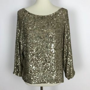 Vince. Gold Sequins and Beaded Dolman Top Blouse